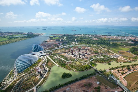 The billion-dollar Gardens by the Bay project is built on 101 hectares of land in Marina Bay, the heart of Singapore's Central Business District. Image: Craig Sheppard / Grant Associates